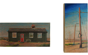 Diptych a landscape oil painting of a wooden fishing cottage surrounded by telegraph poles on the beach at Dungeness