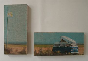 Diptych a figurative oil painting of a Combi sleeping under St George on the beach at Dungeness