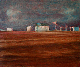 Oil paintings on linen in progress Dungeness beach