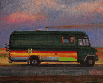 Stealth camper oil painting on Dungeness Beach