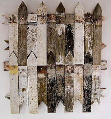St Jude's, Wood, nails, 13 years of gloss paint, lichen, stabilizer and varnish, Dungeness beach