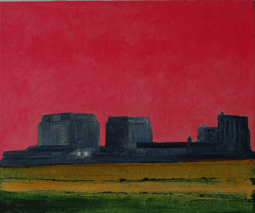 Oil Painting in warm tones,Nuclear power station on the beach at Dungeness