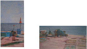 Dungeness beach UK, painting of a marker cone on Dungeness working beach