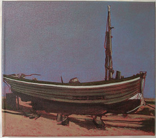 old wooden boat small oil painting