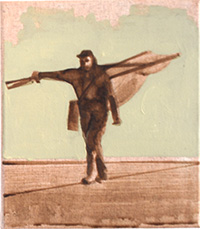 Tightrope walker painting dungeness lugger