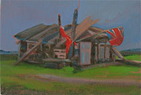 Beach playhouse on Dungeness beach oil painting