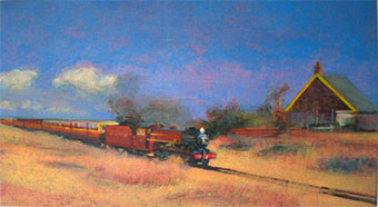 Pearl and Hercules late stage Dungeness train painting on the beach oil painting