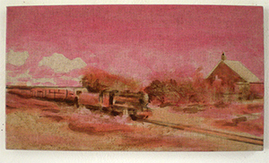 Samson and Hercules early stage train painting on the beach oil painting Dungeness