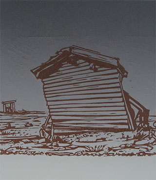 lino cut print Dungeness collapsing shed