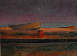 Dungeness boats in landscape  painting