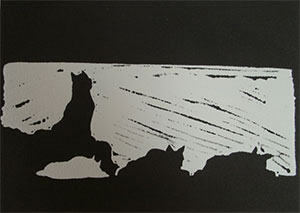 Linocut print Wolf on Guard