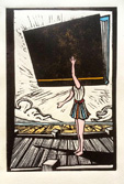 Dungeness art, Paddy Hamilton, Dungeness beach Studio 2, Woman with book, Linocut, print