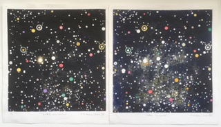 Image links to printst, The Universe, Paddy Hamilton, hand coloured print